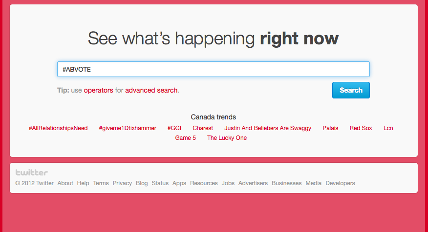Search Twitter for #abvote