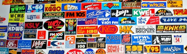 wall of radio stickers